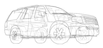 Suv outline stock illustrations 805 suv outline stock car suv drawing outline 3d illustration sketch or blueprint vector illustration malvernweather Images