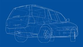 Car SUV drawing outline. Vector Royalty Free Stock Photography