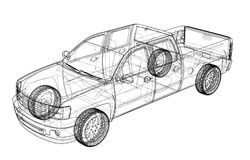 Car SUV drawing outline. Vector rendering Stock Photo