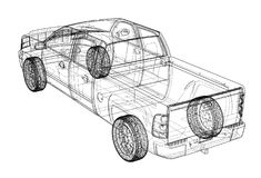 Car SUV drawing outline. Vector rendering Royalty Free Stock Photos