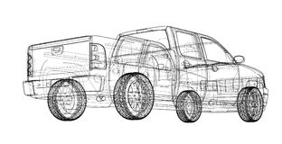 Car SUV drawing outline. Vector rendering Stock Photography