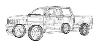 Car SUV drawing outline. Vector rendering Stock Images