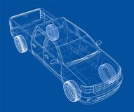 Car SUV drawing outline. Vector rendering Stock Image