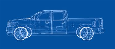 Car SUV drawing outline. Vector rendering Stock Photos