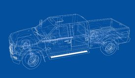Car SUV drawing outline. Vector Stock Images