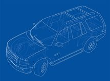 Car SUV drawing outline. Vector Stock Photo