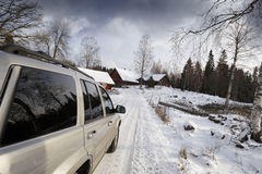 Car, Suv, Driving On Snowy Road Royalty Free Stock Images