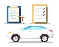 Car Symbol with Checklist Icons. Buying Cars. Vector Concept royalty free illustration