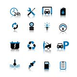 Car symbol icon set black and blue isolated on white background stock illustration