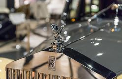 Car symbol of Rolls-Royce at the exhibition in the King Abdullah II car museum in Amman, the capital of Jordan. Amman, Jordan, December 07, 2018 : Car symbol of stock images