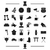 Car, table and other web icon in black style.stick, cook icons in set collection. Royalty Free Stock Photo