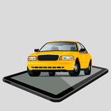 Car and tablet Royalty Free Stock Photography