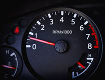 Car Tachometer with battery guage and Temperature Guage Stock Photo