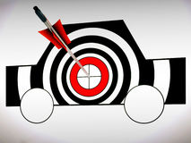 Car Target Shows Excellence And Accuracy. Car Target Shows Excellence Skill And Accuracy Stock Photo