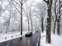 Car on tarmac road through snow forest in dutch winter near austerlitz and utrecht in holland. Car on tarmac road and reflection in wet surface through snow stock photos