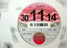 Car Tax Disc Stock Photography