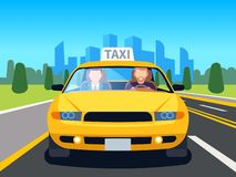 Car taxi driver. Client auto cab inside passenger man profession navigation safety comfort commercial taxi cartoon stock illustration