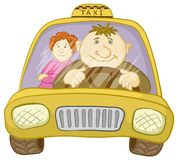 Car taxi with driver and passenger. Cartoon, car taxi with a man driver and passenger a woman Stock Photography