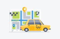 Car taxi on the map background Royalty Free Stock Images