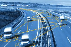 Car and technology. Autonomous car and self driving concept.Intelligent transport background stock photo