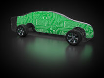 Car and technology. 3D rendering: Carbody grid with circuit board inside Royalty Free Stock Images