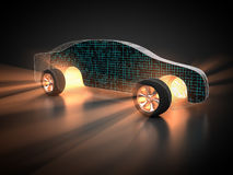Car and technology. 3D rendering: Carbody grid with circuit board inside Royalty Free Stock Image