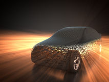 Car and technology. 3D rendering: car and carbody with shining effect Stock Image