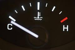 Car temperature coolant meter. Close-up. Temprature warning control Stock Photos