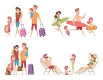 Car?teres do ver?o Viajantes dos pares da família com as crianças que vão às férias no vetor tropical da natureza do mar ou do oc ilustração stock