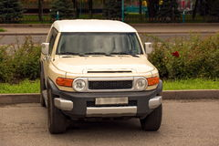 Car terrain. Toyota terrain vehicle in the city Royalty Free Stock Image