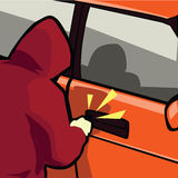 Car theft. A car theft at parking lot while no security there Stock Image