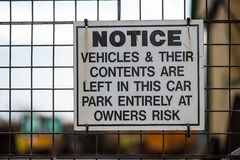Car theft warning sign. Car park vehicle theft warning sign Stock Image