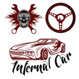 Car theme with car,flame,skull and wrenches Stock Image