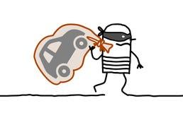 Car thief running away. Hand drawn cartoon characters - car thief running away royalty free illustration
