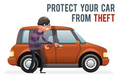 Car thief steal automobile robber robbery purse character isolated icon cartoon design vector illustration. Car thief steal automobile robber robbery purse Royalty Free Stock Photos