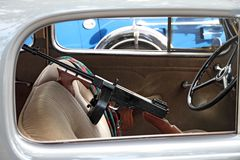 Car with a Thomson machine gun Royalty Free Stock Image
