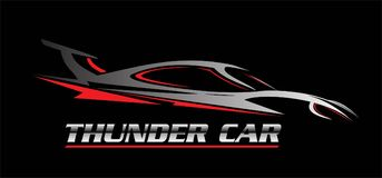 Car. thunder car. car illustration. Car icon over the black background, drawing, outline. combine with the silver metallic text royalty free illustration