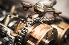 Car timing chain in cutaway engine royalty free stock images