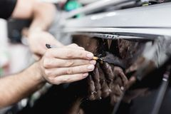 Car tinting and foil installation stock photo