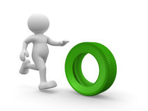 Car tire. 3d people - human character with car tire. 3d render illustration Royalty Free Stock Photos