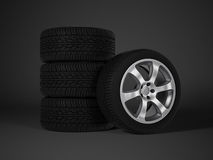 Car tire with aluminum alloy wheel Royalty Free Stock Image