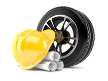 Car tire with blueprints and hardhat vector illustration