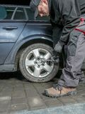 Car tire change Royalty Free Stock Photo