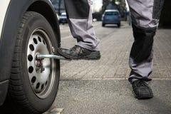 Car tire change Stock Photo