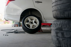 Car tire change Tires. That are out of use Royalty Free Stock Photography
