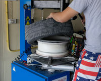 Car tire change Tires. That are out of use Royalty Free Stock Images