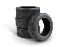 3d Render of Car Tire. Car Tire , This is a 3d rendered computer generated image. Isolated on white Stock Photos