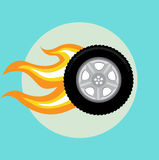 Car tire with flame flat design Royalty Free Stock Image