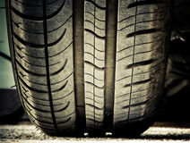 Car tire on ground stock photos