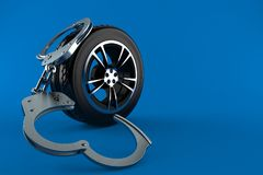 Car tire with handcuffs. Isolated on blue background. 3d illustration Stock Image